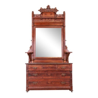 Monumental Eastlake Victorian Carved Walnut and Burl Wood Dresser With Mirror, Circa 1870 For Sale