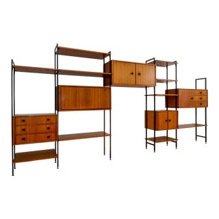 Large Mid-Century Design Modular Teakwood and Steel Stand-alone Wall System by MDK, Belgium, 1960s