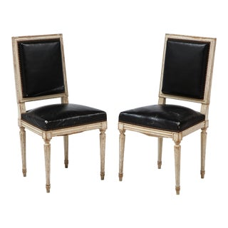19th Century Louis XVI Style Side Chairs with Original Black Leather- a Pair For Sale