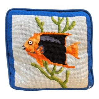 Needlepoint Fish Pillow For Sale