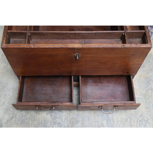 19th Century Anglo-Indian Solid Teakwood Box With Inside Trays For Sale In Houston - Image 6 of 9