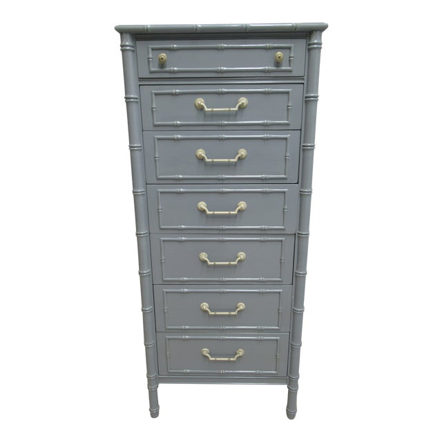 Vintage Thomasville Allegro Faux Bamboo Painted Dresser Lingerie Chest For Sale