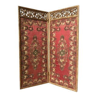 18th Century Italian Giltwood Screen Panels With Silk Needlework For Sale