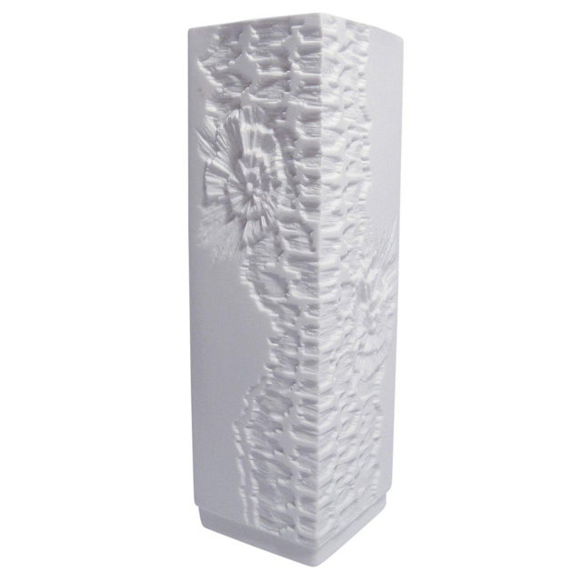 Ceramic White Modernist Bisque Vases with Fossil Design - Set of 3 For Sale - Image 7 of 11