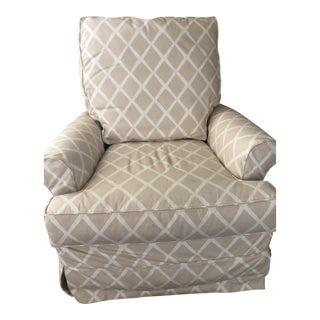 Serena & Lily Hayes Bisque Diamond Glider With Spare Ivory Slipcover For Sale