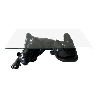 1980s Vintage Black Panther and Glass Coffee Table For Sale