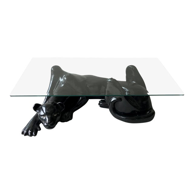 1980s Vintage Black Panther And Glass Coffee Table