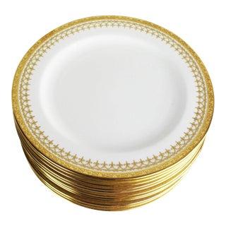 Cauldon English Gold Band Porcelain Dinner Plates - Set of 12 For Sale