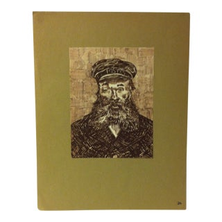 """Mounted Vintage Print on Paper, """"The Postman Roulin - 1888"""" - Circa 1930 For Sale"""