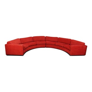 1960's Milo Baughman for Thayer Coggin Red Half Circle Sectional Sofa For Sale