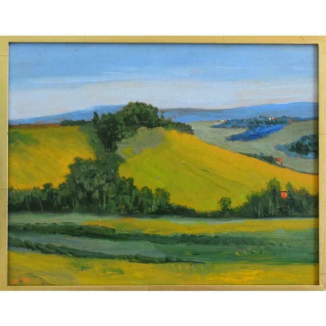California golden foothills plein air landscape oil painting on artist wood panel. Unsigned. Displayed in a new gold leaf...