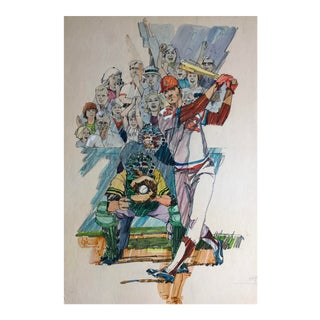 Baseball Painting by Famous Illustrator Hal Ashmead, 1970s For Sale