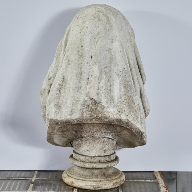 Carved Stone Bust of Woman For Sale - Image 9 of 9