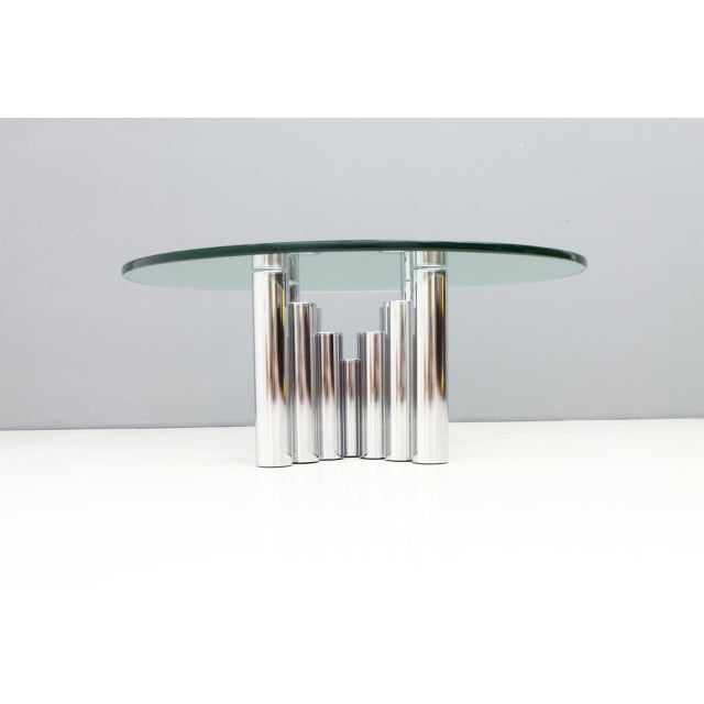 Modern Coffee Table in Chrome & Glass 1970s For Sale - Image 6 of 11