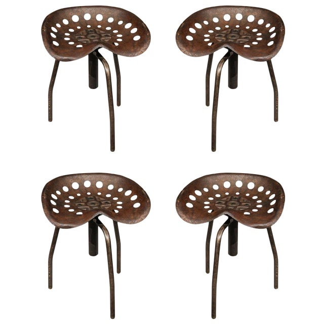Set of Four Mid-Century Industrial Swivel Chairs on Tripod Legs From Belgium For Sale