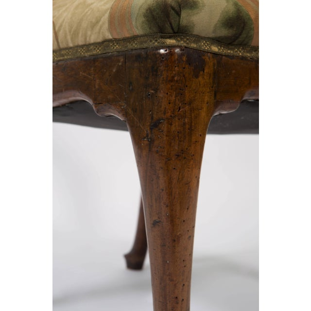 Wood 18th Century Vintage Walnut Italian Open Back Armchair For Sale - Image 7 of 13