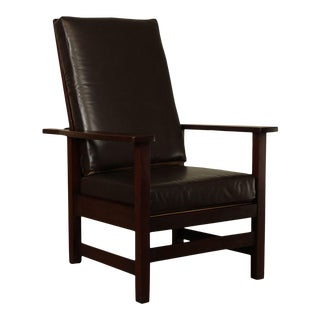 Stickley Brothers Antique Mahogany Mission Oak Morris Chair For Sale