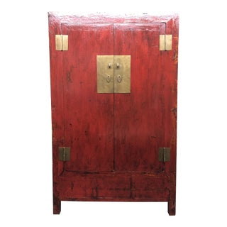 Vintage Red Lacquer Asian Armoire For Sale