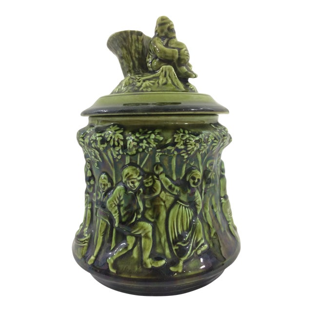 French 19th Century Tobacco Jar With Party Scene For Sale