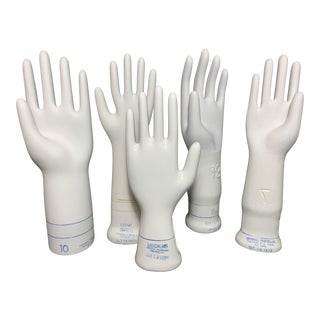 White Porcelain Hand Shaped Glove Forms - Set of 5 For Sale