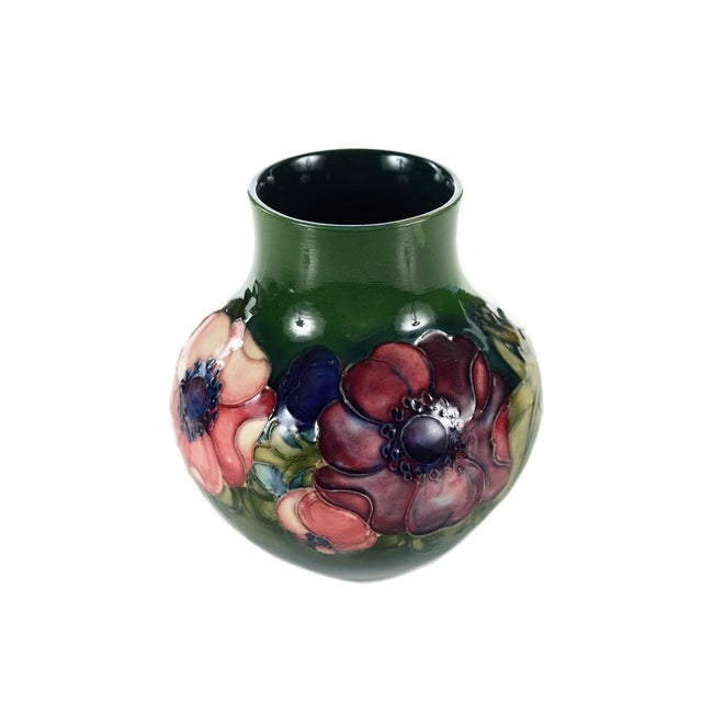 Moorcroft Green & Red Floral Pottery Art Vase - Image 2 of 9