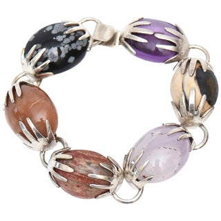 Sterling Silver, Amethyst and Agate Stone Hallmarked Bracelet For Sale