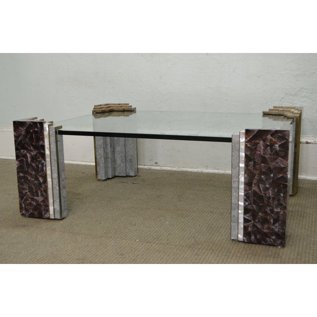 Maitland Smith Tessellated Marble & Stone Glass Top Large Coffee Table - Image 6 of 10