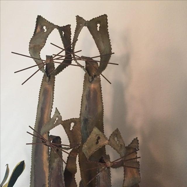 Brustalist-Style Brass Cat Sculpture - Image 4 of 6