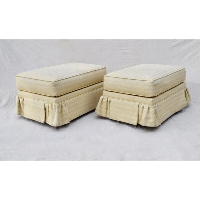 Traditional Vintage Ottomans on Casters, Pair For Sale - Image 3 of 10