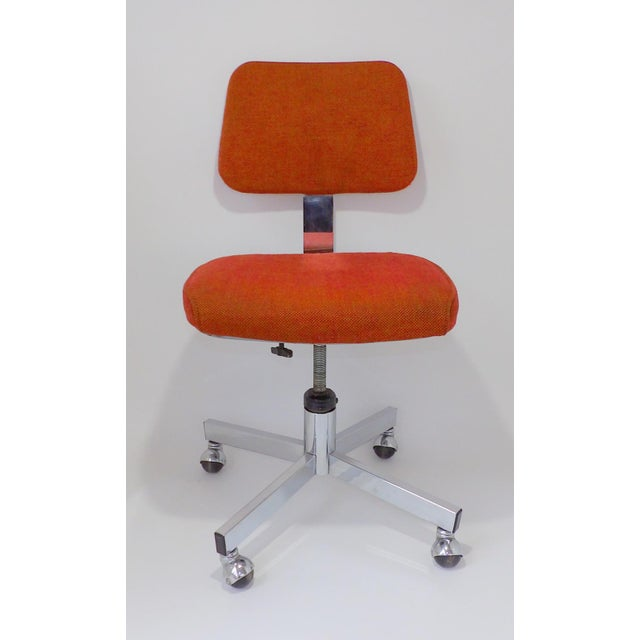 Mid Century Modern Interroyal Orange Wool Office Chair For Sale In Sacramento - Image 6 of 13