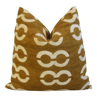 "Gold & Cream Malian Mud Cloth Tribal Abstract Feather/Down Pillow 22"" Square For Sale"