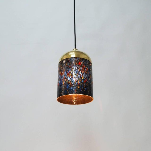 1970s Pair Murano Glass and Brass pendants, circa 1970 For Sale - Image 5 of 8