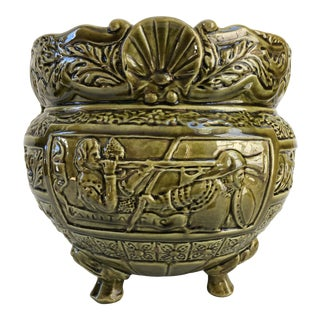 Large Antique English Bretby Style Majolica Jardiniere Planter For Sale