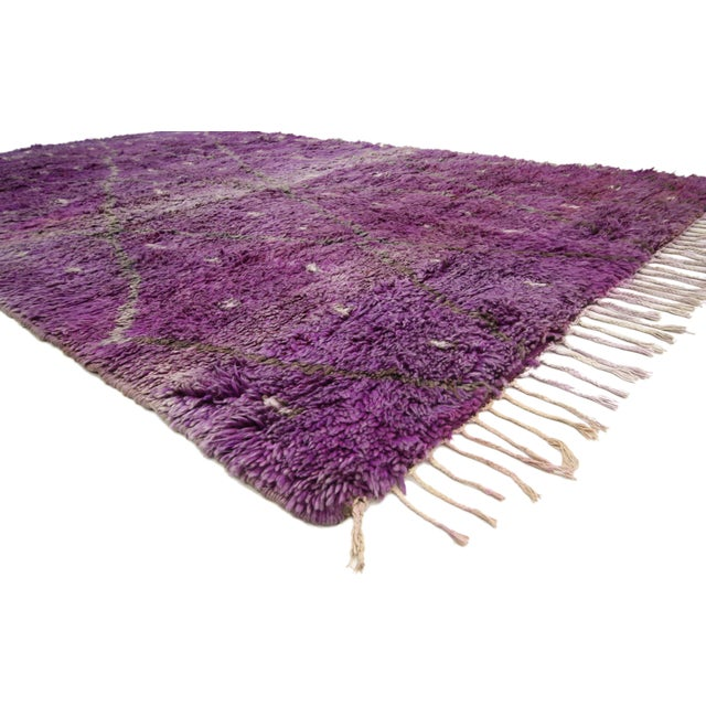 "20th Century Moroccan Berber Purple Rug with Diamond Pattern - 6'7"" X 10'2"" For Sale - Image 9 of 10"