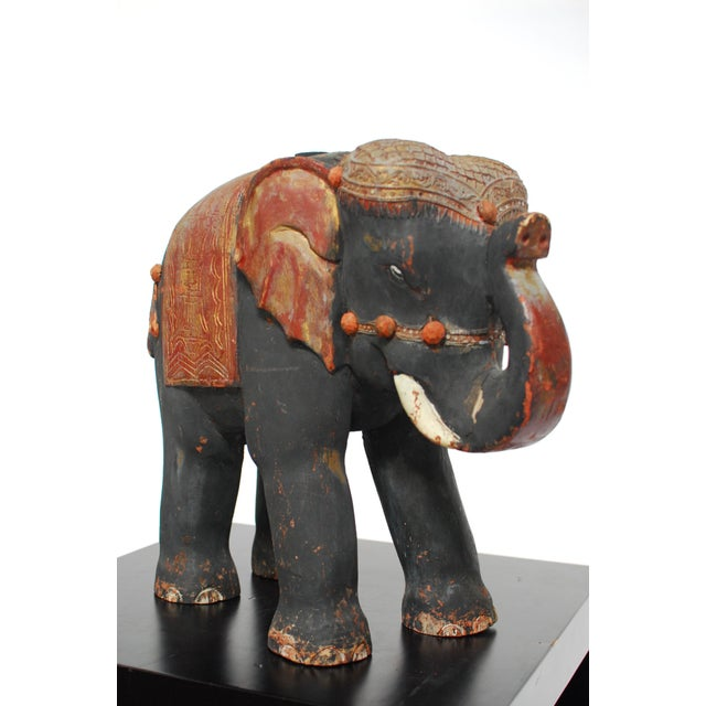 Antique Polychrome Carved Wood Elephant - Image 2 of 6
