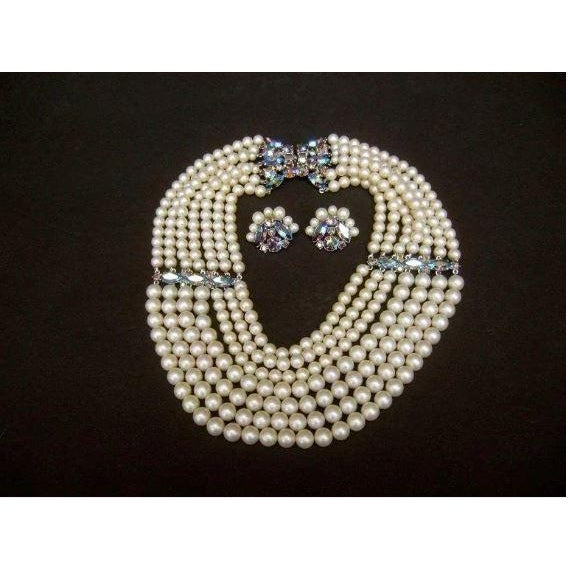 Schiaparelli Faux Pearl Bib Necklace and Earring Set. 1960's. For Sale - Image 4 of 8