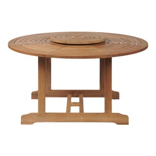 Royal Round Teak Outdoor Dining Table with Lazy Susan For Sale