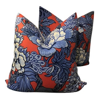 "Thibaut Down Filled Pillows in ""Honshu"" in Red and Blue - a Pair For Sale"