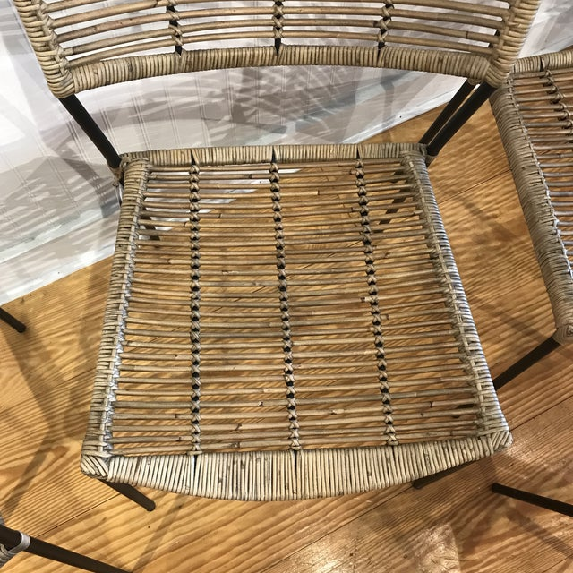Black Modern Rattan and Wrought Iron Dining Side Chairs- 2 Left For Sale - Image 8 of 11