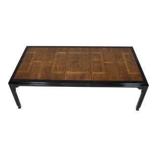 Burl Wood Black Lacquer Two Leaves Dining Table For Sale