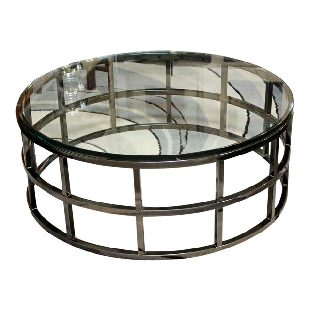 Contemporary Modernist Large Round Gunmetal Glass Coffee Table Brueton 1980s For Sale
