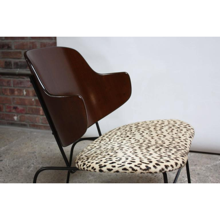 Rare IB Kofod Larsen Penguin Chairs And Ottoman In Leopard Print Appaloosa  Hair   Image 5