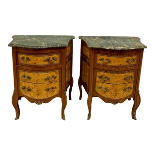 Vintage French Marble Top Nightstands - a Pair For Sale