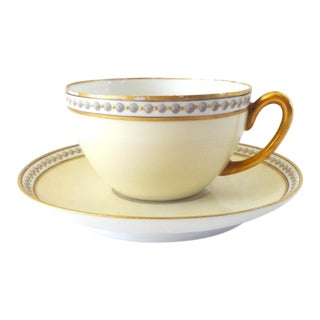 Antique 1920s-1930s French Limoges Hand-Painted Tea Cup and Saucer For Sale