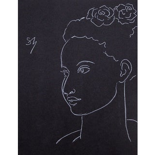 """""""Two Roses"""" White Charcoal Drawing by Sarah Myers For Sale"""
