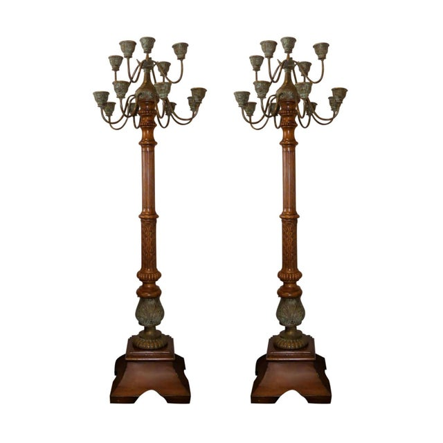 Maitland Smith Carved Wood and Bronze Candelabra Torchieres - a Pair For Sale - Image 10 of 10