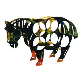 Mid 20th Century Italian Brass Horse Motif Wine Rack For Sale