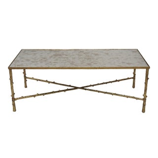 Glostrup Contemporary Metal and Mirror Top Center/ Coffee Table