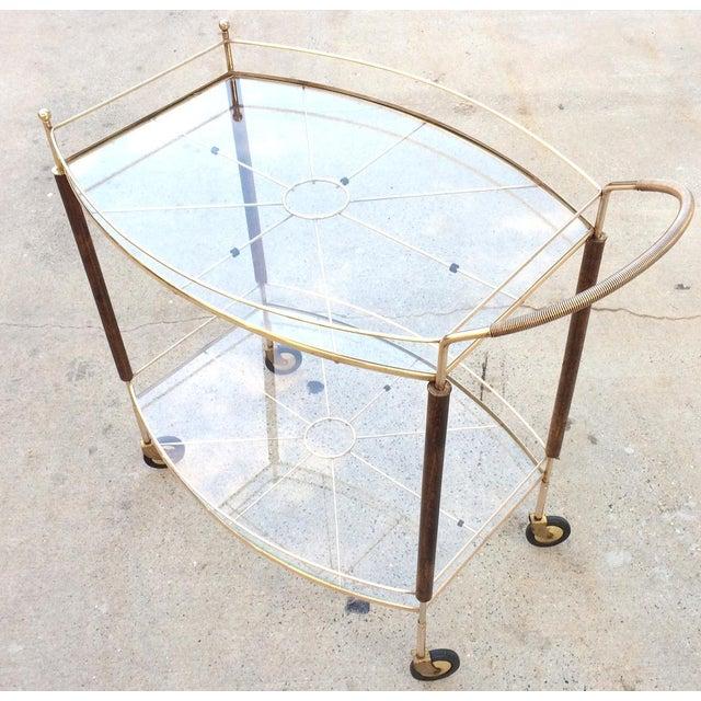 Mid-Century Brass & Glass Bar Cart - Image 11 of 11