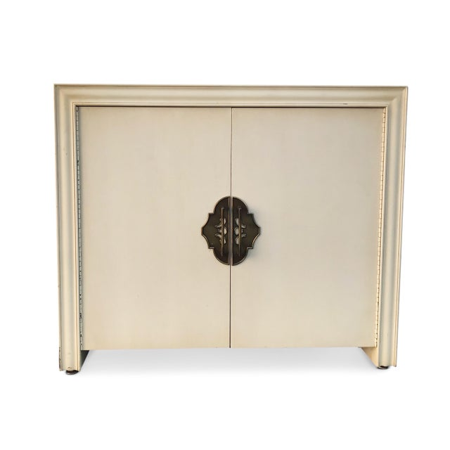 1950s Vintage Custom Ecru and Gold Cabinet For Sale - Image 9 of 10